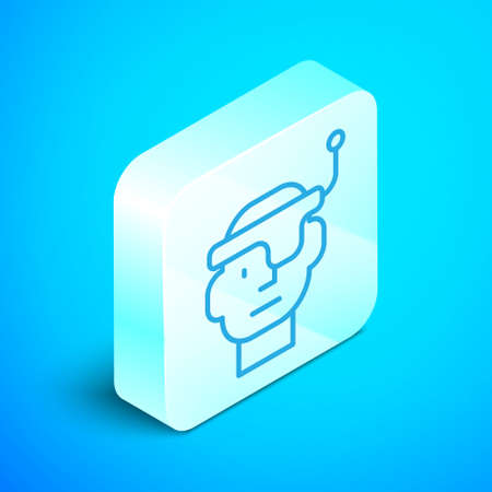 Isometric line Smart glasses mounted on spectacles icon isolated on blue background. Wearable electronics smart glasses with camera and display. Silver square button. Vector