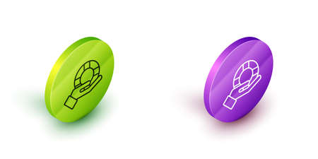 Isometric line Lifebuoy in hand icon isolated on white background. Lifebelt symbol. Green and purple circle buttons. Vector 向量圖像