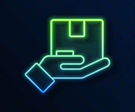 Glowing neon line Delivery insurance icon isolated on blue background. Insured cardboard boxes beyond the shield. Vector