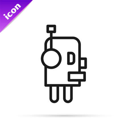 Black line Robot icon isolated on white background. Artificial intelligence, machine learning, cloud computing. Vector 向量圖像