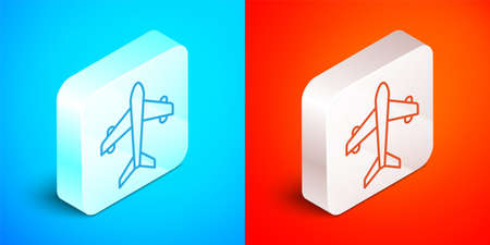 Isometric line Plane icon isolated on blue and red background. Flying airplane. Airliner insurance. Security, safety, protection, protect concept. Silver square button. Vector