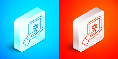 Isometric line Safe box in hand icon isolated on blue and red background. Insurance concept. Security, safety, protection, protect concept. Silver square button. Vector