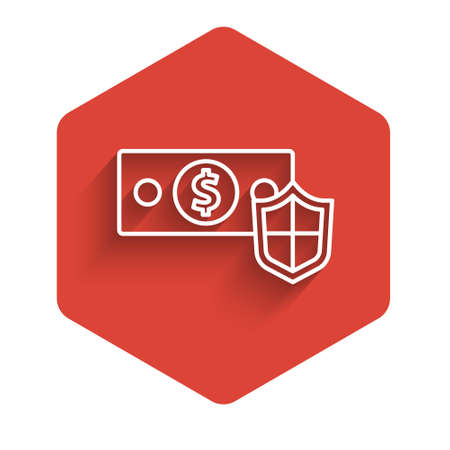 White line Money with shield icon isolated with long shadow. Insurance concept. Security, safety, protection, protect concept. Red hexagon button. Vector