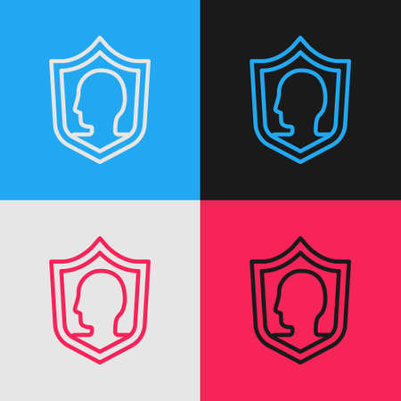 Pop art line Life insurance with shield icon isolated on color background. Security, safety, protection, protect concept. Vector 向量圖像