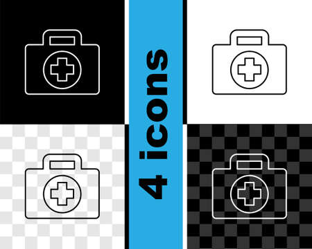 Set line First aid kit icon isolated on black and white, transparent background. Medical box with cross. Medical equipment for emergency. Healthcare concept. Vector
