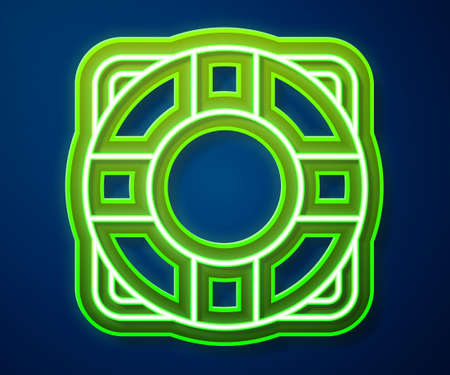 Glowing neon line Lifebuoy icon isolated on blue background. Lifebelt symbol. Vector  イラスト・ベクター素材