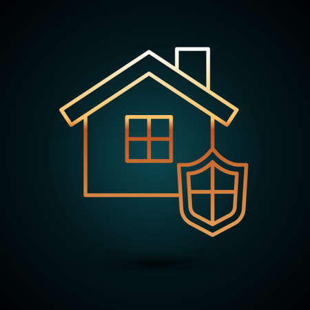 Gold line House with shield icon isolated on dark blue background. Insurance concept. Security, safety, protection, protect concept. Vector