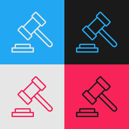Pop art line Judge gavel icon isolated on color background. Gavel for adjudication of sentences and bills, court, justice. Auction hammer. Vector