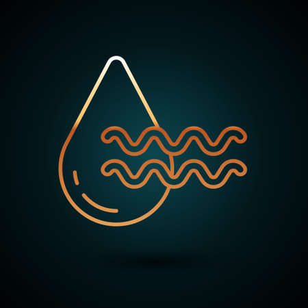 Gold line Recycle clean aqua icon isolated on dark blue background. Drop of water with sign recycling. Vector 向量圖像