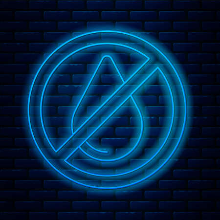 Glowing neon line Water drop forbidden icon isolated on brick wall background. No water sign. Vector