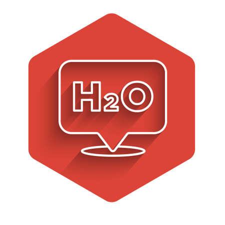 White line Chemical formula for water drops H2O shaped icon isolated with long shadow. Red hexagon button. Vector Illustration