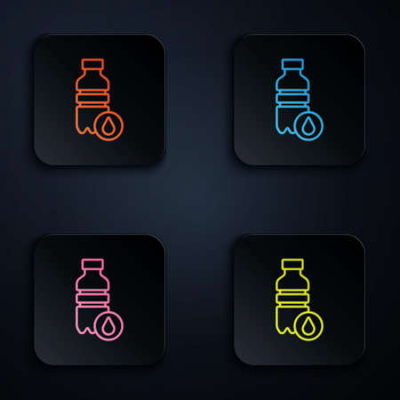 Color neon line Bottle of water icon isolated on black background. Soda aqua drink sign. Set icons in square buttons. Vector 向量圖像