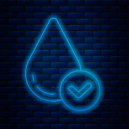 Glowing neon line Water drop icon isolated on brick wall background. Vector Illustration