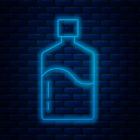 Glowing neon line Big bottle with clean water icon isolated on brick wall background. Plastic container for the cooler. Vector 向量圖像
