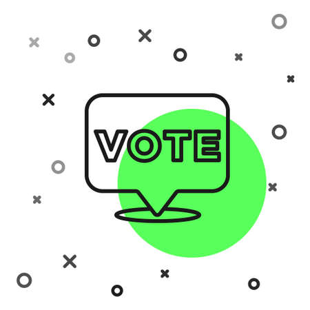 Black line Vote icon isolated on white background. Vector 向量圖像
