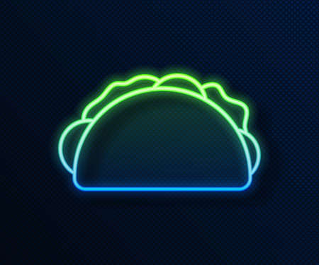 Glowing neon line Taco with tortilla icon isolated on blue background. Traditional mexican fast food menu. Vector