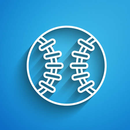 White line Baseball ball icon isolated on blue background. Long shadow. Vector
