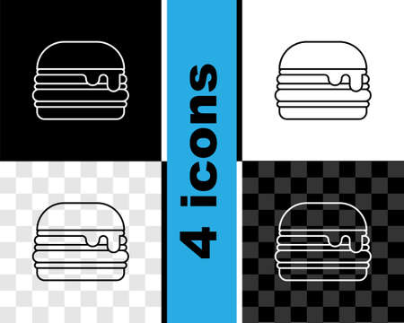 Set line Burger icon isolated on black and white, transparent background. Hamburger icon. Cheeseburger sign. Fast food menu. Vector