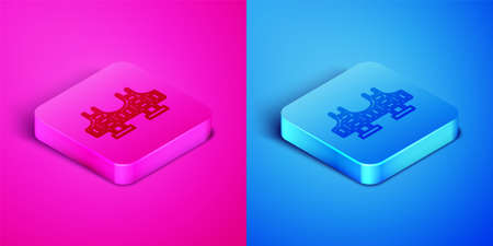 Isometric line Golden gate bridge icon isolated on pink and blue background. San Francisco California United States of America. Square button. Vector