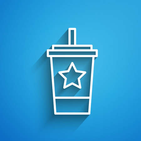 White line Paper glass with drinking straw and water icon isolated on blue background. Soda drink glass. Fresh cold beverage symbol. Long shadow. Vector