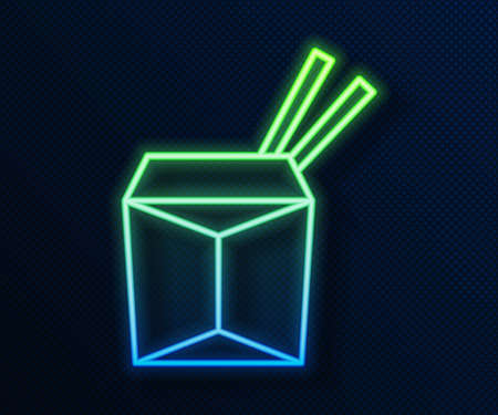 Glowing neon line Asian noodles in paper box and chopsticks icon isolated on blue background. Street fast food. Korean, Japanese, Chinese food. Vector 向量圖像