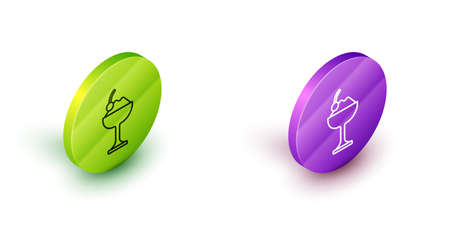 Isometric line Ice cream in the bowl icon isolated on white background. Sweet symbol. Green and purple circle buttons. Vector