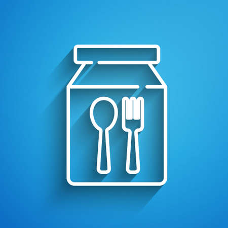 White line Online ordering and fast food delivery icon isolated on blue background. Long shadow. Vector 向量圖像