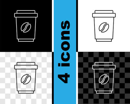 Set line Coffee cup to go icon isolated on black and white, transparent background. Vector