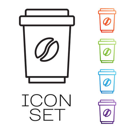 Black line Coffee cup to go icon isolated on white background. Set icons colorful. Vector 向量圖像
