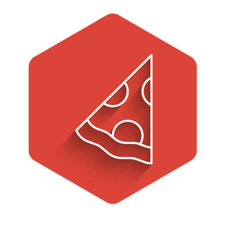 White line Slice of pizza icon isolated with long shadow. Fast food menu. Red hexagon button. Vector 向量圖像