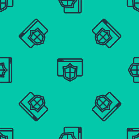 Blue line Browser with shield icon isolated seamless pattern on green background. Security, safety, protection, privacy concept. Vector