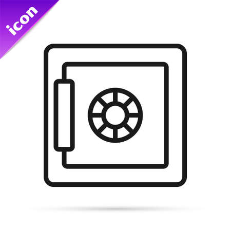 Black line Safe box icon isolated on white background. The door safe a bank vault with a combination lock. Reliable Data Protection. Vector