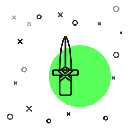 Black line Dagger icon isolated on white background. Knife icon. Sword with sharp blade. Vector 向量圖像