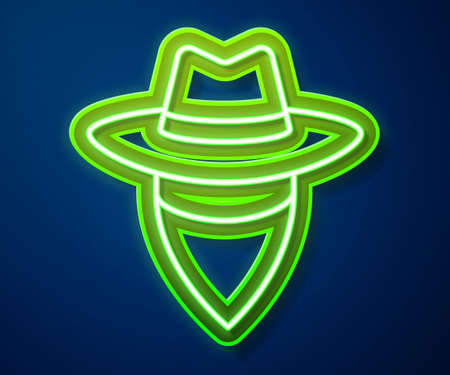 Glowing neon line Cowboy icon isolated on blue background. Vector