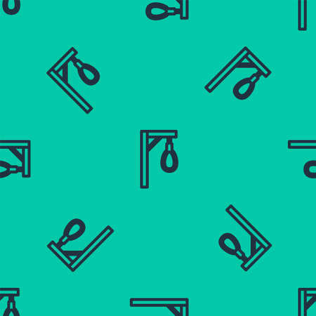 Blue line Gallows rope loop hanging icon isolated seamless pattern on green background. Rope tied into noose. Vector 向量圖像