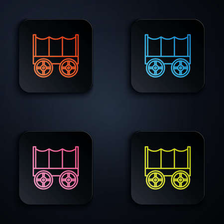 Color neon line Wild west covered wagon icon isolated on black background. Set icons in square buttons. Vector 向量圖像