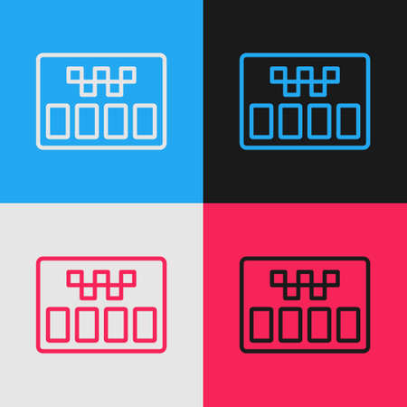 Pop art line Taximeter device icon isolated on color background. Measurement appliance for passenger fare in taxi car. Vector