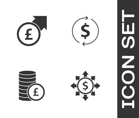 Set Dollar, share, network, Financial growth and pound, Coin money with and dollar icon. Vector Ilustração Vetorial