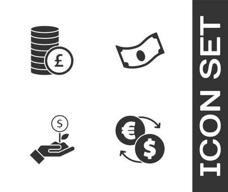 Set Money exchange, Coin money with pound, Dollar plant and Stacks paper cash icon. Vector Ilustração Vetorial
