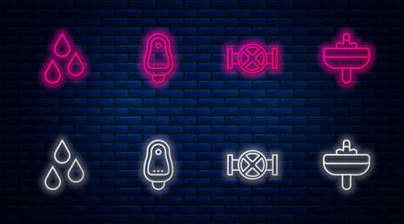 Set line Toilet urinal or pissoir, Industry pipe and valve, Water drop and Washbasin. Glowing neon icon on brick wall. Vector