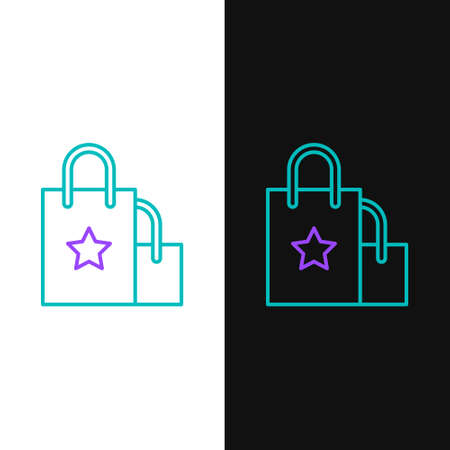 Line Paper shopping bag icon isolated on white and black background. Package sign. Colorful outline concept. Vector Иллюстрация