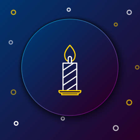 Line Burning candle in candlestick icon isolated on blue background. Cylindrical candle stick with burning flame. Colorful outline concept. Vector
