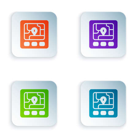 Color Gps device with map icon isolated on white background. Set colorful icons in square buttons. Vector 向量圖像