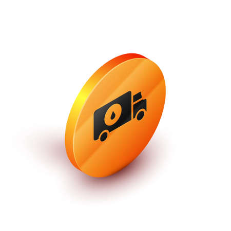 Isometric Plumber service car icon isolated on white background. Orange circle button. Vector