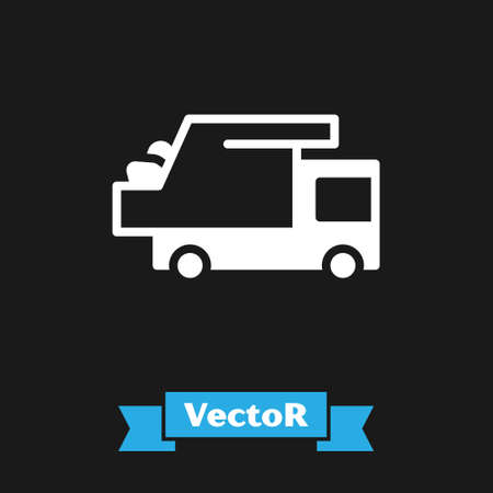 White Garbage truck icon isolated on black background. Vector 向量圖像