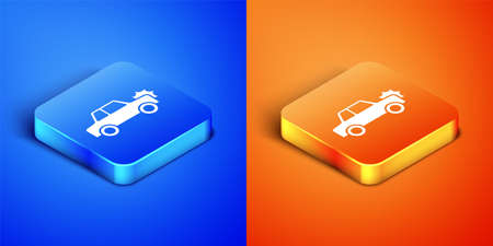 Isometric Car icon isolated on blue and orange background. Insurance concept. Security, safety, protection, protect concept. Square button. Vector 向量圖像