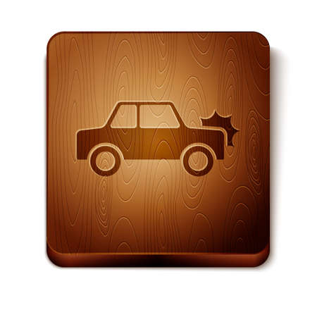 Brown Car icon isolated on white background. Insurance concept. Security, safety, protection, protect concept. Wooden square button. Vector