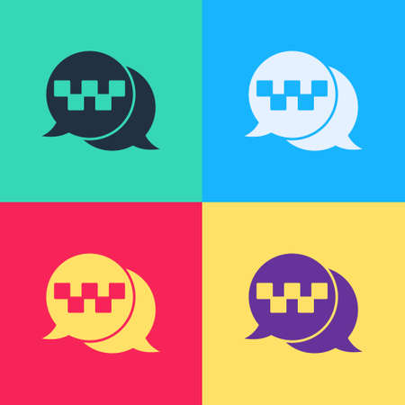Pop art Taxi call telephone service icon isolated on color background. Speech bubble symbol. Taxi for smartphone. Vector