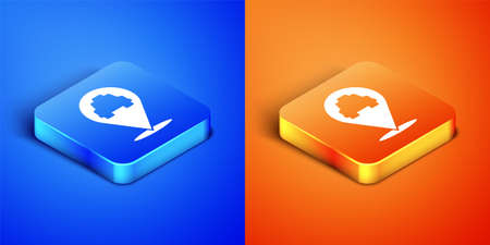 Isometric Map pointer with taxi icon isolated on blue and orange background. Location symbol. Square button. Vector 向量圖像
