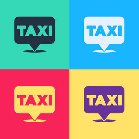 Pop art Map pointer with taxi icon isolated on color background. Location symbol. Vector 向量圖像
